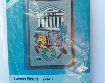 """Lee Wards Needlepoint Lawyer Picture kit #21-11508 9"""" x 14"""" Vintage 1975 Factory sealed"""