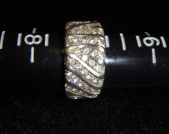 Modernist Sterling Silver DQ Diamonique CZ Cluster Ring Size 7 1/4