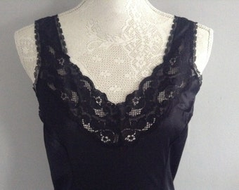 Vintage Black Lace Slip / Petticoat size small