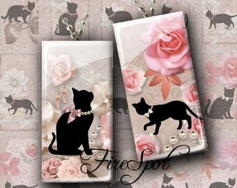 Flower Black Cat.Black Cat - Digital Collage Sheet of 1x2 inch and 15x30 mm Dominoes  printable images for Pendant,Scrapbooking,Bottlecaps