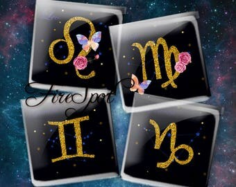 Gold Zodiac sign Twelve constellations - Digital Collage Sheet 1.5inch,1 inch,25 mm,20 mm Square Glass Pendants, Bottlecaps,Scrapbooking