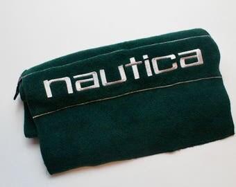 90s Vintage Nautica Scarf Nautica Nautech Fleece Scarf Embroidered Nautica Spell Out 90s Nautica Dark Green