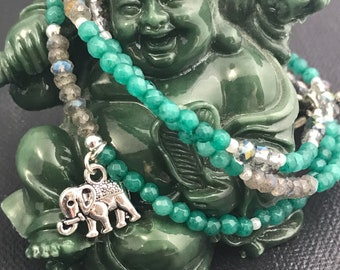 Labradorite and Aqua agate wrap bracelet, lucky elephant, mala style, meditation bracelet, healing bracelet