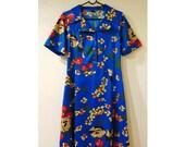 Vintage Floral Dress/Rockabilly Dress/80s Dress/90s Dress/Hawaiian Dress/Tiki Dress/Oriental Dress/50s Inspired/50s Style/UK 12/UK 14