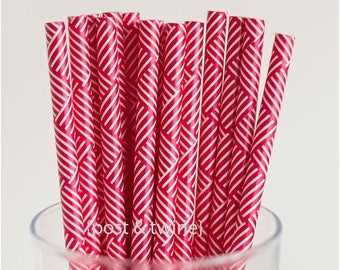 ON SALE - 15% OFF 25 Red and White Retro Striped Paper Straws - Additional Items Ship Free!!!