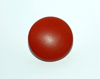 Red Leather Button. Covered Leather Button