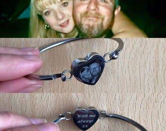 Personalised Heart Bangle Gift Perfect Keepsake, Birthday, Mothers Day, Anniversary, New Baby, Wedding, Memorial, Christening, Valentines
