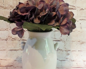 Amethyst Purple Silk Hydrangea Bloom Arranged in a Charming White Ceramic Vase with Handles