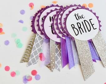 Purple Glitter Bachelorette Party Pins, Bachelorette Party Decorations