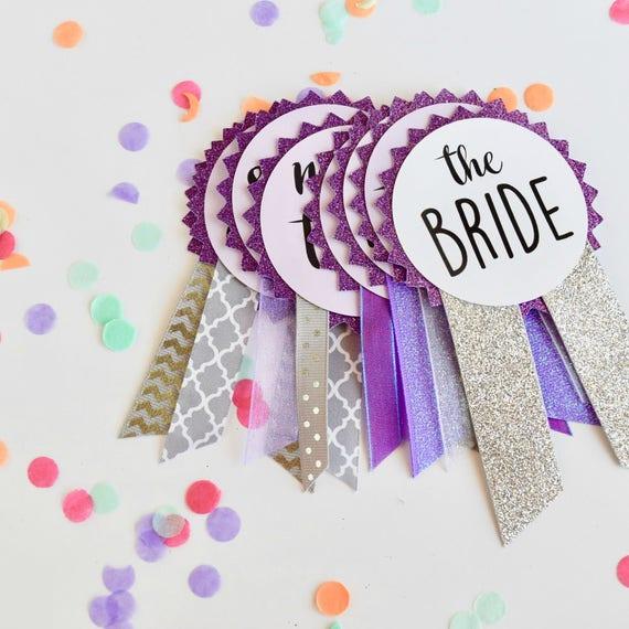 Purple Glitter Bachelorette Party Pins