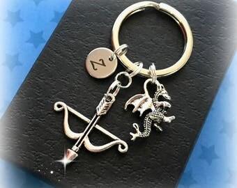 Initial Dragon keyring -  Dragon charm keyring - Tiny Dragon keychain - Fantasy gift - Dragon gift - Medieval gift - Stocking filler - UK