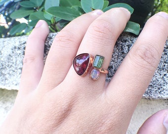 Raw gemstone ring, tourmaline ring, tourmaline opal, raw crystal jewelry, gift for mom, rough tourmaline, rubellite tourmaline, ooak ring
