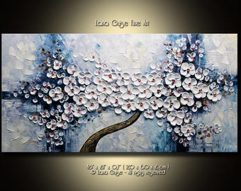 Tree Painting, Blossom Tree Abstract Painting Modern Textured Palette Knife by Lana Guise