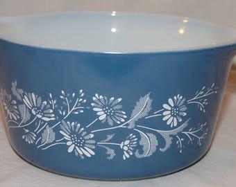 Colonial Mist Vtg Pyrex Baking Dish Casserole 473-B Blue 1 litre Vintage Glass Corning