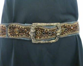 Boho Beaded Belt Betsey Johnson Embroidered Belt Jewel Belt Velvet Belt Tribal Belt Ethnic Belt 1980s belt