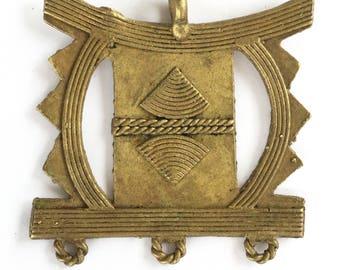 Large African Stool Pendant tribe handmade Lost Wax brass pendant
