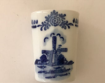"""Vintage Blue and White Delft Shot Glass Cups with Pretty Windmill Design-  2"""" tall- Authentic Marked Holland Delft BLue"""