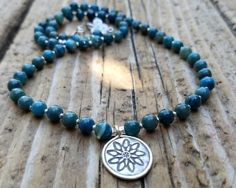 Apatite Necklace and Hill Tribe Silver, Karen Hill Tribe Silver Lotus Flower Necklace, Beachy, Neon Apatite and Sterling Silver Necklace