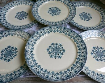 Set of 6 Antique french ironstone teal green transferware dessert plates. Teal green transferware. French transferware. Christmas serving.