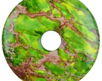 g3559.8 40mm Green sea sediment jasper  donut focal pendant bead