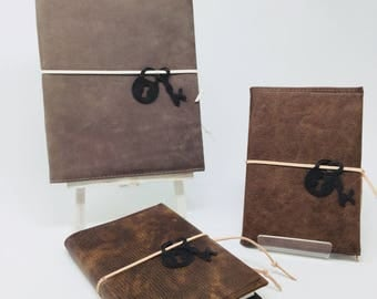A6 or A5 Refillable Journal/Notebook Covered in distressed look leather