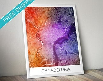 Philadelphia Map Print - Map Art Poster with Watercolor Background