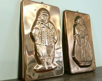 Vintage Copper Mold, Dutch Lady and Man Jello Molds, Vintage Pans