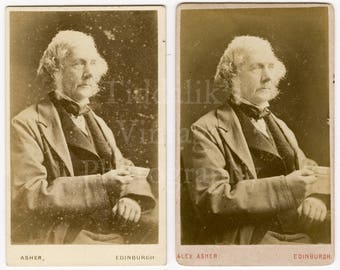 2 CDVs Photo Victorian Distinguished Looking Old Man Holding a Photo - Edinburgh, Scotland - Carte de Visite Antique Photograph