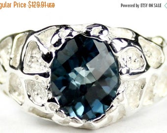 Fathers Day, 1/3 Off, London Blue Topaz, 925 Sterling Silver Men's Ring, SR168