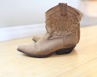 vintage distressed brown suede leather ankle boots western booties womens  7 1/2