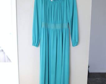vintage turquoise blue maxi dress