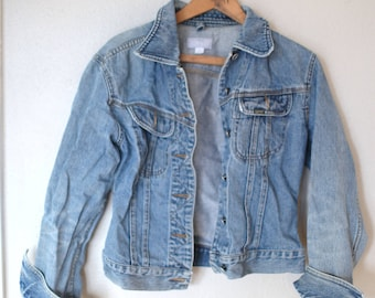 vintage ESPRiT  distressed blue denim jean jacket