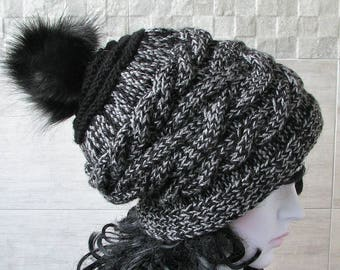 Trendy Hats, Chunky Knit Hat Women, Slouchy Beanie With Pom pom , Cable Knit Cap, Winter Fashion