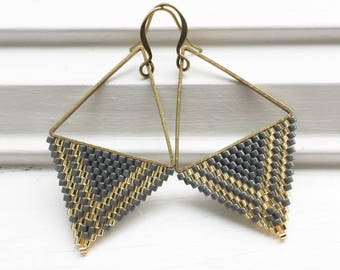 Stormy Pewter Gray and Gold Beaded Earrings - Gray and Gold Geometric Triangle Earrings - Grey Beaded Earrings - Jewelry Gift