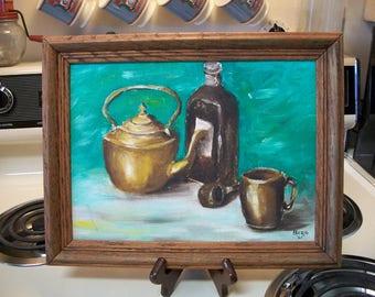 Vintage still life painting, Mid Century painting, vintage art, still life painting, vintage acrylic painting