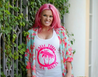 Palm Trees and Sea Breeze Beach Tank Top For Women, Women's Tank Top, Racerback Tank, Funny Beach Shirt, Beach Shirts For Women, ©Liv & Co.™