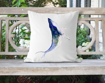 Watercolor Whale 18x18 Pillow//Custom Pillows//Housewarming Gifts//Pillow Cover//Throw Pillow//Nautical Pillow/Whale Pillow/Beach House