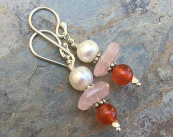 Rose Quartz, Carnelian and Pearl Earrings with Sterling Silver, 1.5 inches long