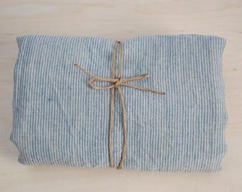 Soft linen bath towel 100% pure linen fabric bath sheet Natural and light blue very narrow printstripes Stonewashed Linen towel Spa towel