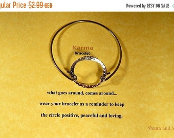 SALE Good Karma Silver Bangle Bracelet