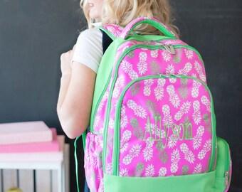 Pineapple Monogrammed Backpack-- Book bag Monogrammed - Lunch Box monogram- Pencil Bag Personalized bag- Monogrammed Bookbag and Lunch Box-