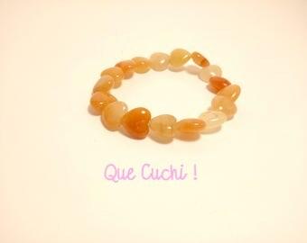 Bracelet perles cœur d'Aventurine ambrée