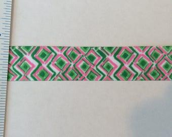 """Bullseye Check  Lilly inspired grosgrain ribbon pink green 7/8"""""""