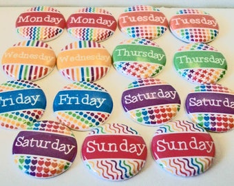 Set of 15 Colorful Days of the Week 1 Inch Flat Back Embellishments Buttons Flair