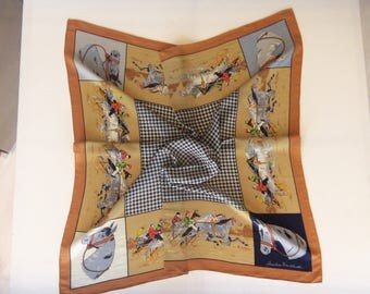 Christian Fischbacher Silk Georgette Scarf, Sulky Harness Racing, Swiss Designer Square