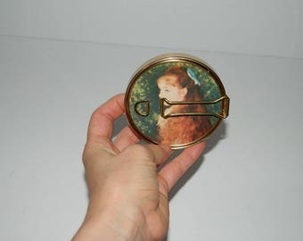 """Vintage Folding Compact Gold-tone Travel Vanity Mirror Printed w Pierre-Auguste Renoir's painting """"Mlle Irene Cahen DAnvers"""""""