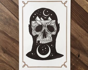 LIMITED Cosmic Night Skull  - Tattoo print 50/50 signed