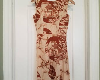 Adorable tiki style handmade dress - small 60s or 70s does 50s!