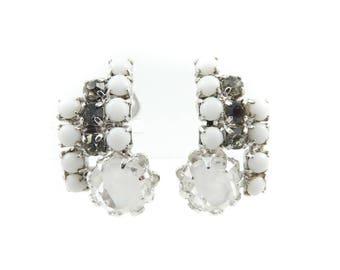 Vintage Continental Earrings, Rhinestones, Signed
