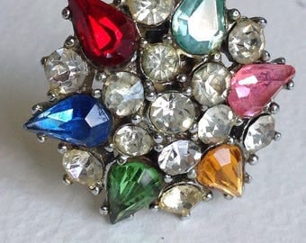 Multicoloured Star Brooch - Rhinestones- Vintage Jewellery - Gifts for Her